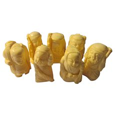 Vintage Carved Bone Figurines of the Seven Lucky Gods