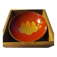 "Japanese Family Golden ""Mon"" Celebratory Sake Red Lacquer Teacup"