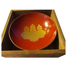 "Japanese Family Golden ""Mon"" Celebratory Sake Red Lacquer Teacup"