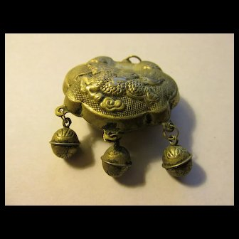 Vintage Chinese Miao Silver Lock Pendant with Baby Riding Dragon, 35mm