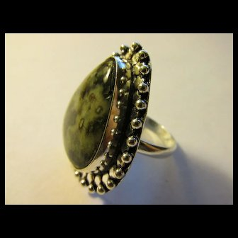 Ocean Jasper Gemstone Finger Ring with Silver Tone Setting, Size 9.5