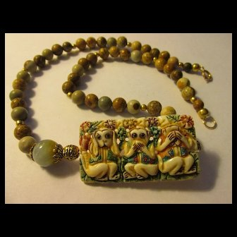 """Hear No Evil, Speak No Evil, See No Evil"" Carved Bone Monkey Pendant with Picture Jasper Bead Necklace, 21"""