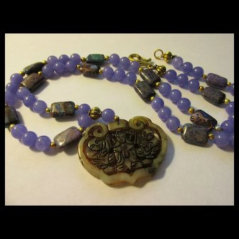 Lacy Jade Pendant of Goddess of Mercy with Lavender Jade and Jasper Bead Necklace, 26""