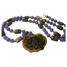 """Lacy Jade Pendant of Goddess of Mercy with Lavender Jade and Jasper Bead Necklace, 26"""""""