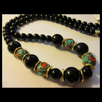 Handcrafted Red Coral-Turquoise Nepal-Tibetan Beads with Jet Black Agate Bead Necklace, 23""
