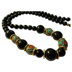 """Handcrafted Red Coral-Turquoise Nepal-Tibetan Beads with Jet Black Agate Bead Necklace, 23"""""""