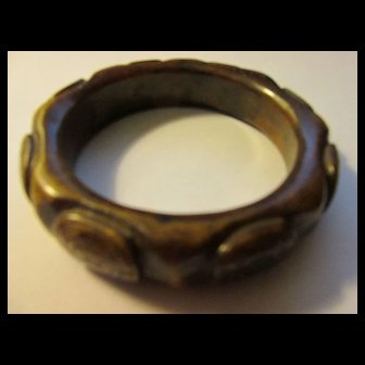 67mm, Carved Brown Jade Bangle with Dragon Turtle Motifs