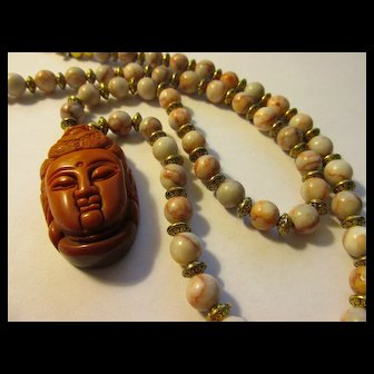 Brick Red Jasper Pendant of Kwan Yin with Rhodonite Bead Necklace, 23""