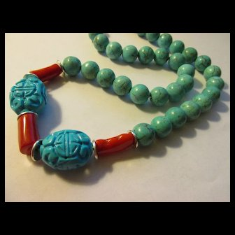 Carved Turquoise Magnesite Chinese Shou Beads and Red Coral Bead Necklace, 22""