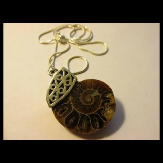 Prehistoric Ammonite Charm-Pendant Necklace, 20""