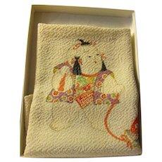 "Japanese Chirimen Silk ""Furoshiki"" Scarf of Boy with Carp, 18"""