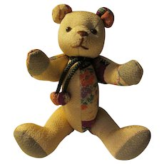 Japanese Silk Patchwork Stuffed Jointed Teddy Bear Toy, 8""