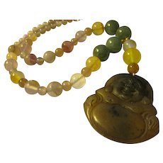 """Laughing Buddha Jade Pendant with Jade and Fluorite Bead Necklace, 20"""""""