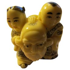 Carved Resin-Bone Netsuke Collectible-Pendant of Girl and Boy Holding Bearded Mask