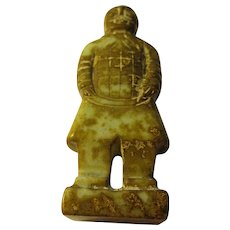 """Carved Brown Jade Figurine of Ancient Chinese Terra Cotta Warrior, 4 1/4"""""""
