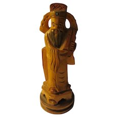 Hand Carved Wooden Confucius Holding Sacred Scrolls, 5 1/4""