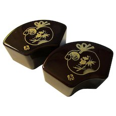 Japanese Paper Money Weights with Golden Ram-Sheep Motif, Set of 2