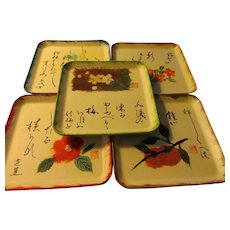 "Japanese ""Chigiri-e"" Washi Paper Flower Dish, Set of 5"