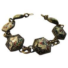 "Vintage Persian Hand Painted Bird and Floral Motif Link Bracelet, 7"""