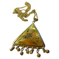 """Vintage Hand Painted Deer Hunter Seashell Pendant with Chain, 20"""""""