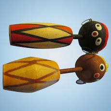 """3 1/4"""", Calypso Style Black and Brown Kokeshi with Drum Bodies"""