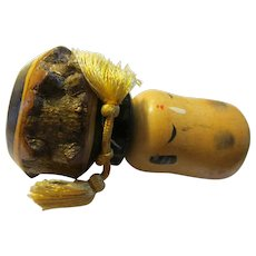 "2 3/4"", Squash Head Tree Stump Man Kokeshi Doll"
