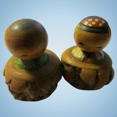 "1 1/4"", Man and Lady Kokeshi Dolls Sitting in Tree Branch Stumps"
