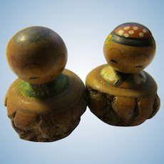 """1 1/4"""", Man and Lady Kokeshi Dolls Sitting in Tree Branch Stumps"""