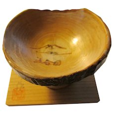 Signed Japanese Natural Wooden Sake Cup with Lip Rest