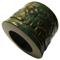 Old Deep Green Jade Ring Collectible Carved with Floral Motif