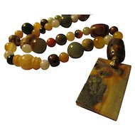 Eclectic Jade-Dzi-Natural Gemstone Bead Necklace, 21""