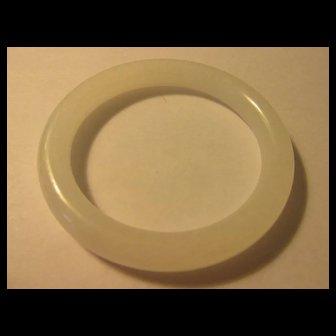61mm, Pure White Chinese Jade Stone Tubular Bangle