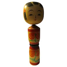 "9 3/4"", Red and Green Floral Girl Kokeshi Doll"