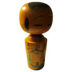 "8 1/2"", Kokeshi Doll of Lady Visiting Loved One's Grave"