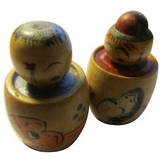 "1 1/2"", Miniature Pair of Kokeshi Dolls with Hand Painted Folk Art Masks"