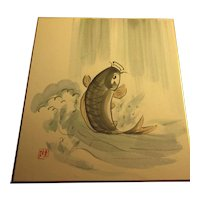 """Japanese Watercolor of Lively Koi Fish Jumping Out of Water, 9 1/4"""" x 10 1/2"""""""