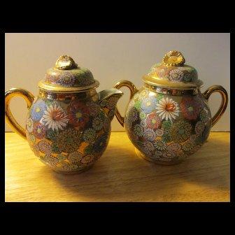 Vintage Japanese Golden Floral Motif Sugar Pot and Creamer Set
