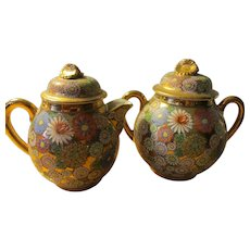 Vintage Japanese Golden Floral Motif Sugar Pot and Creamer Set