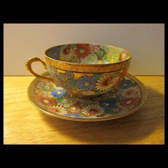 Vintage Japanese Gold Gilded Floral Motif Teacup and Saucer Set