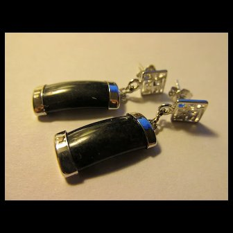 Chinese Black Jade Dangling Earrings with Good Fortune Symbol, Pierced
