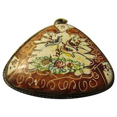 """Vintage Persian Hand Painted Bird and Floral Motif L Pendant, 1 1/4"""""""