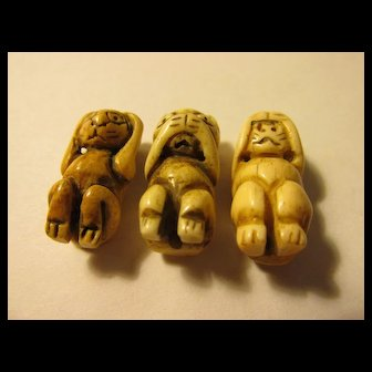 "Miniature Carved Netsuke Figurines of ""Hear, See, Speak No Evil"" Kitty Cats, 1"", Set of 3"