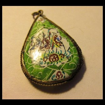 Vintage Persian Hand Painted Bird and Floral Motif Teardrop Pendant, 1 1/4""