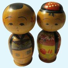"2 3/16"", Bobbing Heads Husband and Wife Kokeshi Dolls"