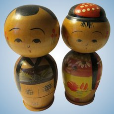 "2 3/16"", Bobbing Heads Husband and Wife Kokeshi Dolls"