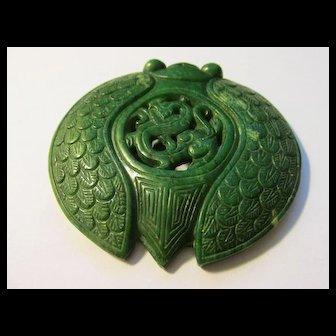 Green Jade Cicada Collectible Pendant
