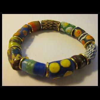 African Ghananese Krobo Tribe Trade Bead Expandable Bracelet, One Size