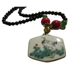 """Vintage Pottery Shard Pendant of Crane on Pine Tree with Jade-Grass Coral-Black Agate Bead Choker, 18"""""""