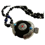 Persian Amulet Silver Tone Gemstone Pendant with Black Onyx Bead Necklace, 24""