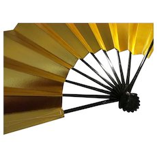 "Striking Golden Japanese ""Odori"" Dance Fan with Black Lacquer Ribs, 20"""
